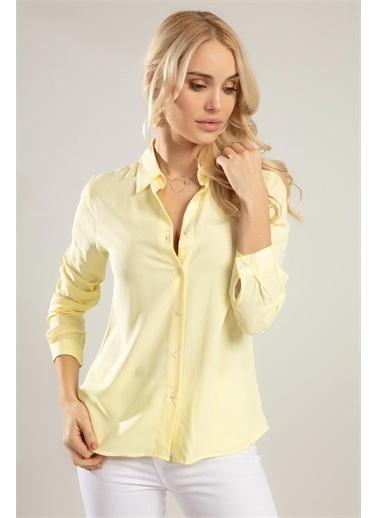 Pattaya Pattaya Kadın Uzun Kollu Gömlek PTTY20S-172 Sarı
